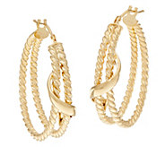 Italian Gold Twist and Polished Wave Hoop Earrings, 14K - J334614