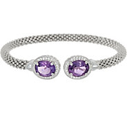 Vicenza Silver Sterling 4.20cttw Amethyst Cuff - J346214