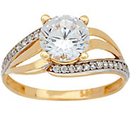Diamonique 1.65 cttw Bypass Design Ring, 14K Gold - J347114