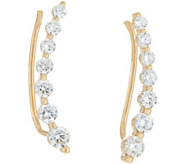 Diamonique 7-Stone Ear Climber Earring Sterling or 14K Clad - J347514