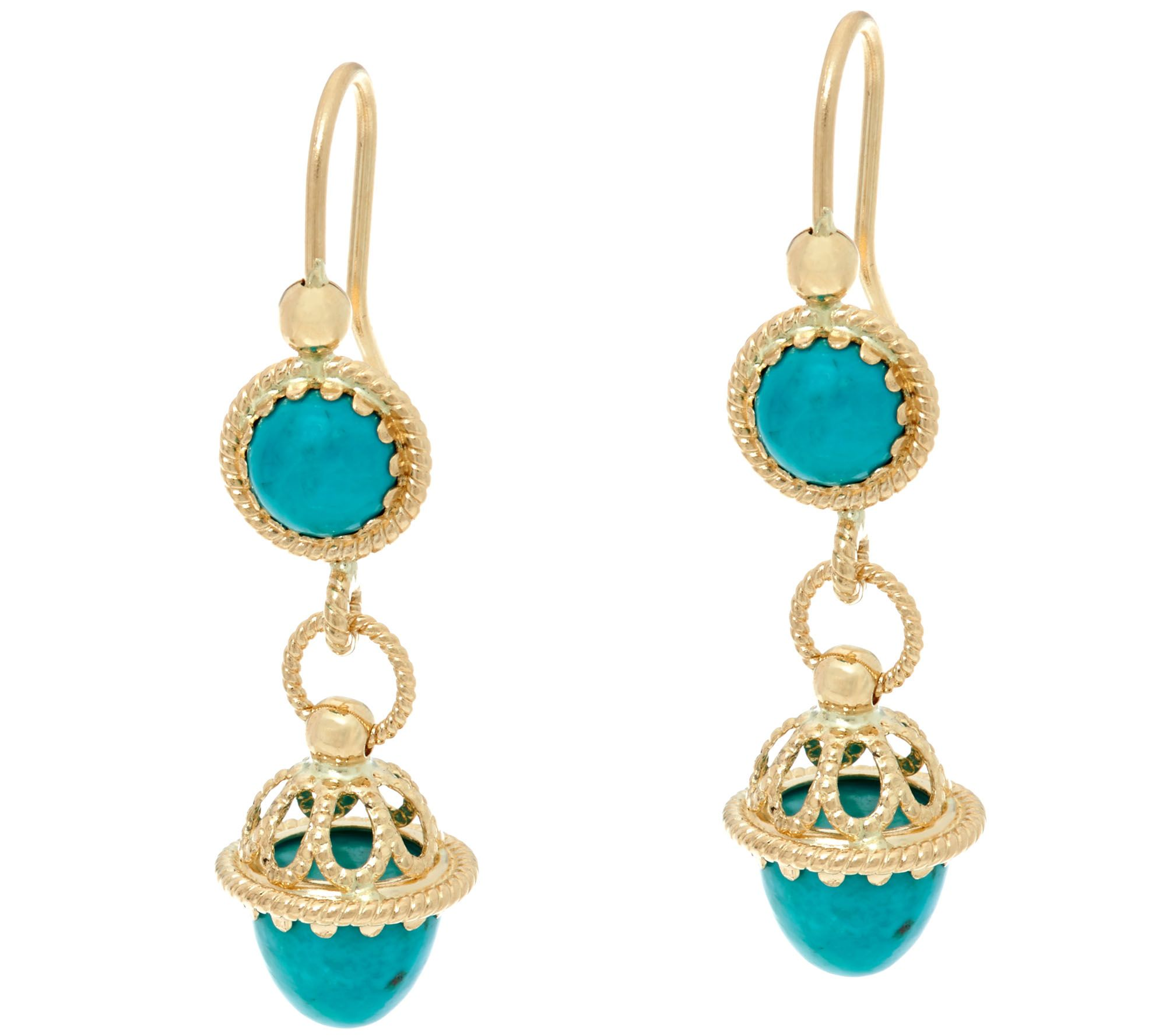 italian gold turquoise drop earrings 14k gold page 1. Black Bedroom Furniture Sets. Home Design Ideas