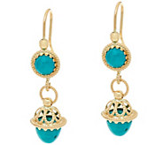 Italian Gold Turquoise Drop Earrings 14K Gold - J348714
