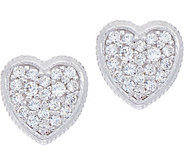 Diamonique Pave Heart Stud Earrings Sterling - J351214