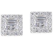 As Is Baguette & Round Diamond Stud Earrings, 14K, 8/10 cttw - J354714