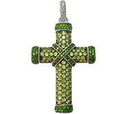 Judith Ripka Sterling Pave Peridot Cross Enhancer - J376914