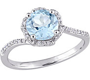 14K 1.55 ct Blue Topaz & 1/10 cttw Diamond Floral Halo Ring - J377114