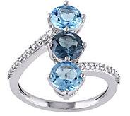 2.95 cttw Blue Topaz & 1/10 cttw Diamond Ring,14K White Gold - J377214