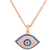 Diamonique Evil Eye Pendant w/ Chain, Sterling - J377414