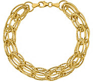14K Yellow Gold Polished and Textured BirdcageBracelet, 4.5g - J378914