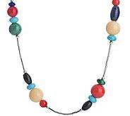 American West Multi-Beaded 15 Liquid Silver Necklace - J379614