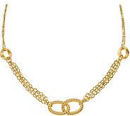 Italian Gold Oval Link Station Necklace, 14K - J381914