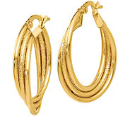 Italian Gold 1 Twisted Hoop Earrings 14K, 1.7g - J382214