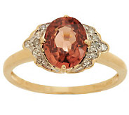 Premier 2.50 ct Thai Rose Zircon 1/10cttwDiamond Ring, 14K - J271215