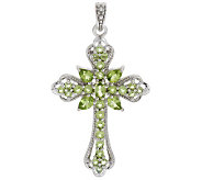 3.75 ct tw Peridot Sterling Cross Enhancer - J282015