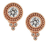 Judith Ripka Sterling & 14K Clad Diamonique Dew Drop Button Earrings - J284415