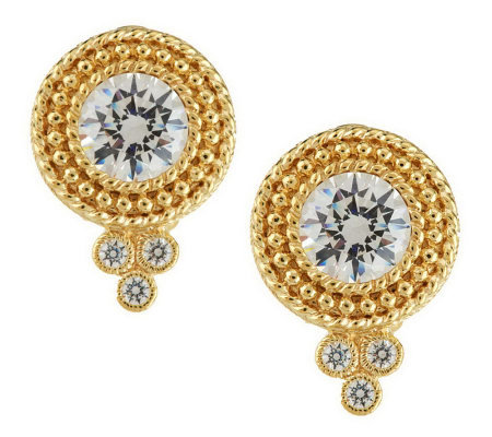 Judith Ripka Sterling & 14K Clad Diamonique Dew Drop Button Earrings