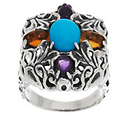 Carolyn Pollack Sterling and 1.50ct Gemstone Honeysuckle Statement Ring - J285015