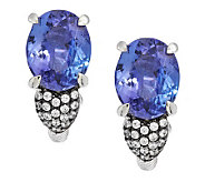 Judith Ripka Sterling 5.60ct Tanzanite and Diamonique Accent Earrings - J288715