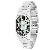 UltraFine Silver Oval Mother-of-Pearl Panther Link Bracelet Watch - J290115