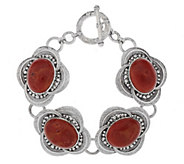 As Is Artisan Crafted Sterling Oval Gemstone 7-1/4 Bracelet - J290815