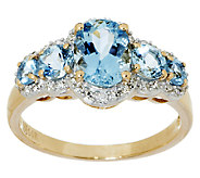 1.50 ct tw Santa Maria Aquamarine & Diamond 5-Stone Ring, 14K Gold - J291215