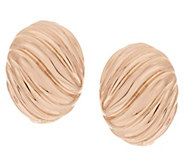 Bronze Bold Ribbed Omega Back Earrings by Bronzo Italia - J292215