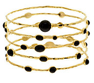 As Is Veronese 18K Clad Large Set of 5 Onyx Station Bangles - J292915