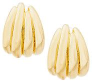 As Is Oro Nuovo 1 Polished Ribbed Hoop Earrings, 14K - J294415