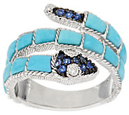 Judith Ripka Sterling Turquoise & Sapphire Snake Ring - J295215