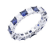 Diamonique & Simulated Sapphire Band Ring, Platinum Clad - J302415