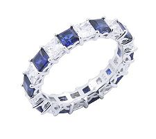 Epiphany Diamonique & Created Sapphire 2.30 cttw Band Ring