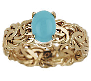 As Is Sleeping Beauty Turquoise Byzantine Ring 14K Gold - J319115