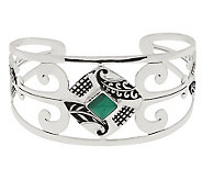 As Is Ninos Chammo Artisan Crafted Sterling Avg. Gemstone Cuff - J319815