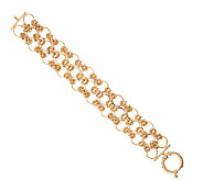 14K Gold 6-3/4 Triple Row Byzantine Open Link Bracelet, 11.6g - J321515