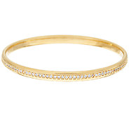 Oro Nuovo 2.20 cttw White Topaz Round Bangle Bracelet, 14K - J322815
