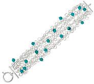 Turquoise BEad Sterling Silver 7-1/4 Charm Bracelet - J323915
