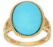 Sleeping Beauty Turquoise Textured Bold Ring, 14K Gold - J324515