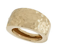 As Is EternaGold Bold Criss Cross Etched Band Ring 14K Gold - J326415