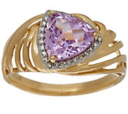 Trillion Cut Kunzite & Diamond Ring 14K Gold 1.70 ct - J328815
