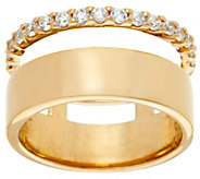 Diamonique Polished Band Ring, Sterling or 14K Clad - J329315