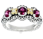 Barbara Bixby Sterling & 18K 3 Stone Bezel Set Gemstone Ring - J329515