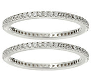 Diamonique Set of 2 Pave Eternity Band Rings, Sterling - J329615