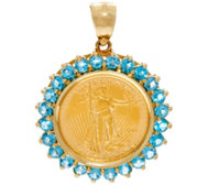 14K/22K Gold Gemstone Liberty Coin Pendant, 2.00 cttw