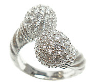 Judith Ripka Sterling 2.70cttw Pave DiamoniqueBypass Ring - J338015