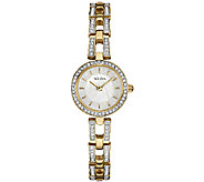 Bulova Womens Goldtone/Silvertone Crystal Bracelet Watch - J339015