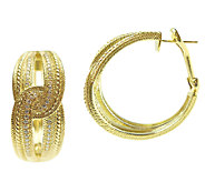 Judith Ripka 14K Clad Diamonique Hoop Earrings - J339215