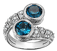 Judith Ripka Sterling  Blue Topaz & DiamoniqueBypass Ring - J340015