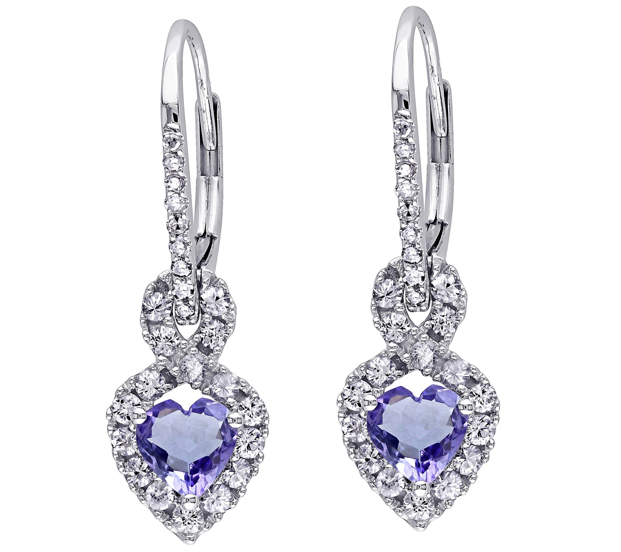 1 25 Cttw Gemstone Diamond Accent Earrings 14k White Gold Page 1 Qvc Com