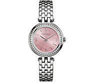 Caravelle New York Pink Floral Face Womens Watch - J343115