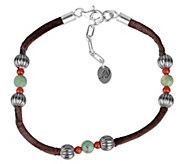 Sterling Leather Gemstone Bead Bracelet by American West - J343315